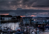 The menacing clouds across Sitka harbor means eminent rain fall once again.